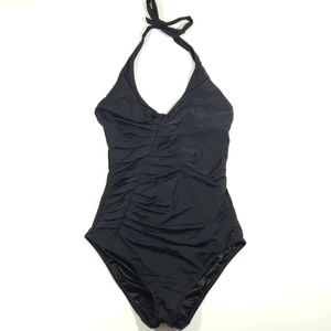 Victoria's secret solid black neck tie one piece s
